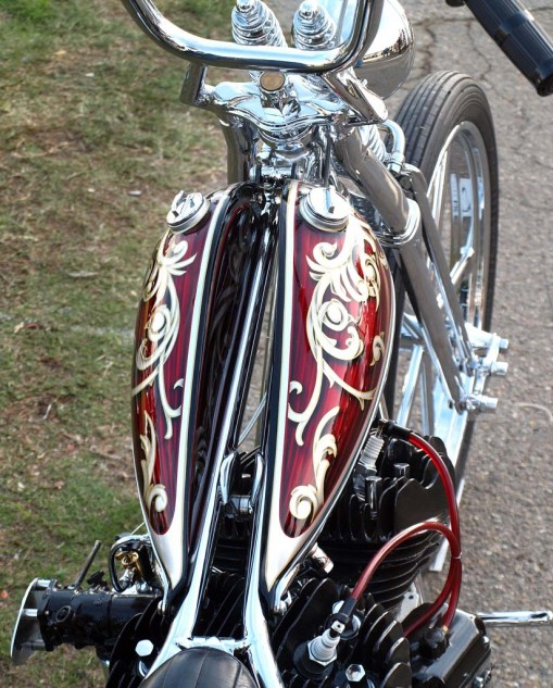 Best Bifurcated Gas Tank: Dalton Walker of S.I.K. built this lovely flathead that took Best of Show honors at Chopperfest.