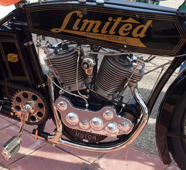 """Best Rarest-Awesomest Mostly Unknown Vintage Bike goes to Don Whalen's 1914 Feilbach """"Limited"""" 69 cu. in. V-Twin. The bike was originally made in Milwaukee circa 1904-14 by Arthur Otto Feilbach and brother William. One of five known to exist, it was recently restored by master of the art, Steve Huntzinger. For a time, the Feilbach was of such high quality and dependability that it threatened Harley-Davidson."""