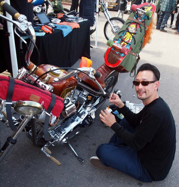 Best Pinstriper Visiting from Japan: Artist Jet Wrench working on '78 Shovel owned by Frankie of Sweatshop Industries.