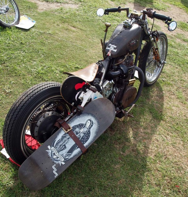 """Best Patina Bike with Skateboards: An ongoing project by Manny based on 1976 Yamaha XS650 Twin. It's dubbed """"Yomama"""" and is festooned with all kinds of """"collectibles."""""""