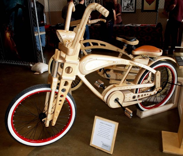 Best Wooden Bike without Splinters You Can Ride. Hand-built by Jerry Knight and featuring real springer suspension, adjustable swingarm, working headlight. A bargain at $1,595, with several different models available.