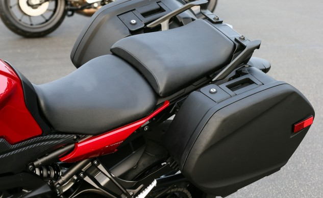 The seat was revised for more legroom and to better coddle the derriere. The bags are slightly narrower than those on the FJR for easier navigation through tight spaces.
