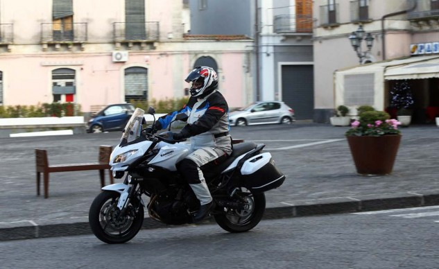 "Riding Gear: Arai Helmet - Signet Q ""Zero Red"" / Alpinestars Gear - Mono Fuse Gore-Tex boots / Bogota Drystar jacket and pants."