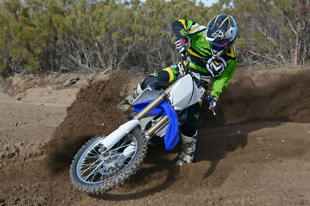 Railing berms on the FX is no different than doing the same on the YZ250F. The FX exhibits extremely light and precise steering that rivals the YZ's even though the FX weighs 18 lbs. more than the motocrosser.