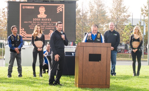 Four time AMA Superbike Champion, Josh Hayes, discusses his race face on the plaque.