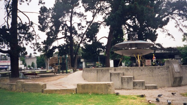 The Kiwanis Club placed this flying saucer play structure into Oakland's Astro Park in 1968 in an effort to keep the Children's Hospital brand-new trauma ward at full capacity.