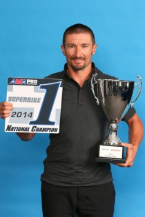 Hayes with his awards at the 2014 AMA Pro Racing banquet.