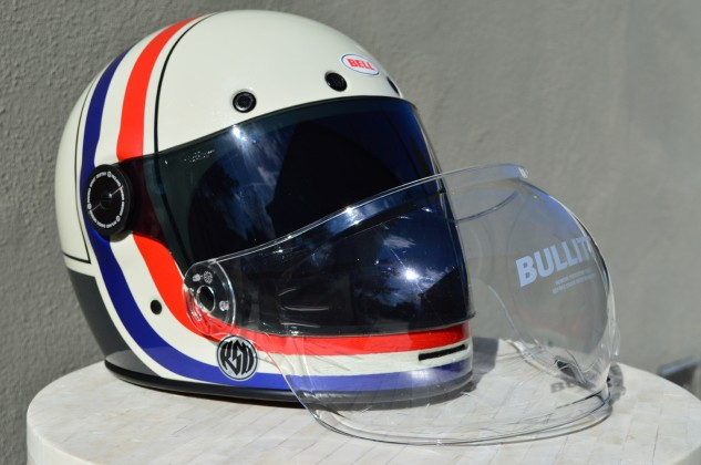 Bell outfits the Bullitt with a clear bubble visor as standard equipment. Opt for a flat visor, like the dark smoke seen on our tester, and that'll put you back $39.95.