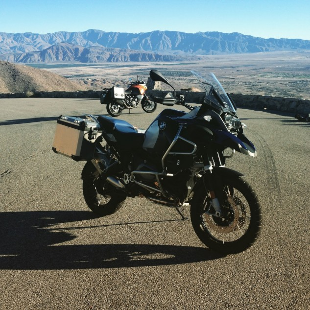 """I must say these """"adventure"""" bikes were surprisingly effective S-22 tools. Approximately 25-percent of the action shots in California motorcycle publications have been shot from this turnout. The Salton Sea is way off to the right, the road's just to the left of frame."""
