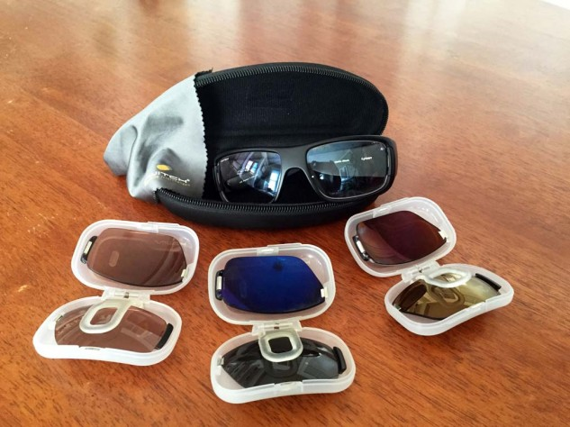 For $190, buyers get a Switch magnetized interchangeable frame, one pair of polarized or non-polarized lenses, a pair of Low-Light Rose Amber lenses, a microfiber cleaning pouch and a lens pod. The carrying case is a $25 option and there's a variety of lenses from which to choose.