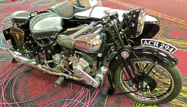 Texan Herb Harris has long been one of the prominent preservationists among fans of British motorcycles. This Brough Superior with a Watsonian sidecar was sold for $115,000.