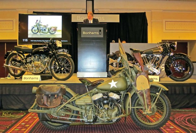 The venerable Bonhams auction is conducted in traditional British style, at a leisurely pace by American standards, and held at Bally's Hotel and Casino on the strip. The restored 1942 Harley-Davidson WLA military model brought $24,725. The 1950 Vincent White Shadow on the left was a tad higher, at $224,250.