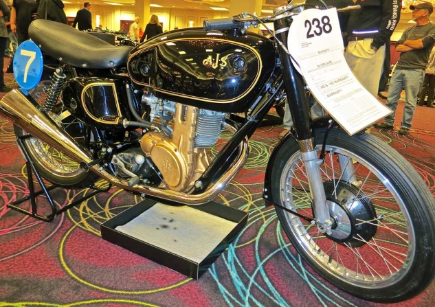 Some motorcycles just look right. And some that handle wonderfully and make great sounds look even better. The AJS 7R and the Norton Manx share that domain among old racers and wannabeens. This 1956 model went for $57,500. Nostalgia ain't cheap.