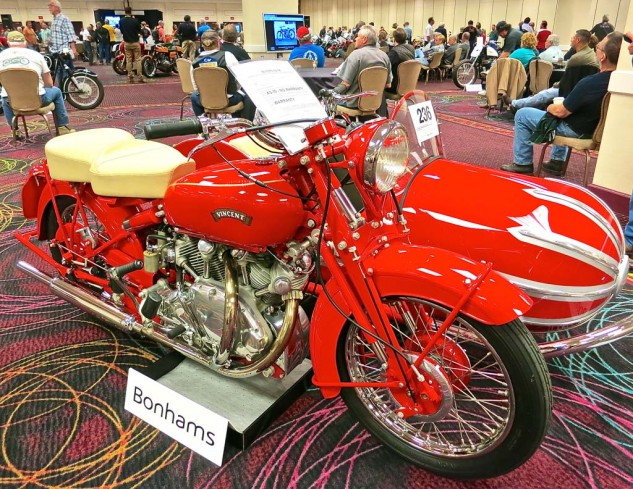 Another offering from the Harris collection was this 1949 Vincent Rapide with electric start and a Blacknell Bullet sidecar. The gavel dropped at $126,500.
