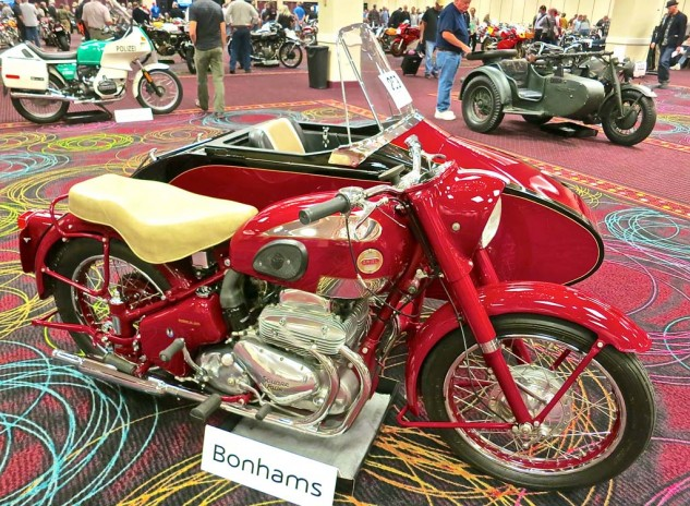 And yet another listing from the Harris stable was a 1956 Ariel Square Four, among the last of the marque, with a Watsonian sidecar. It sold for $50,600.