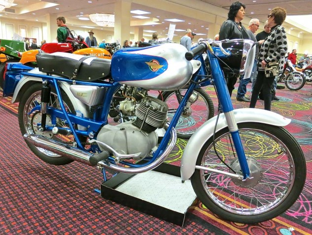 From the same era, albeit considerably lower on the economic scale, a 1959 Ducati 85 Sport, with the prized jelly-mold tank, sold for $8,625.