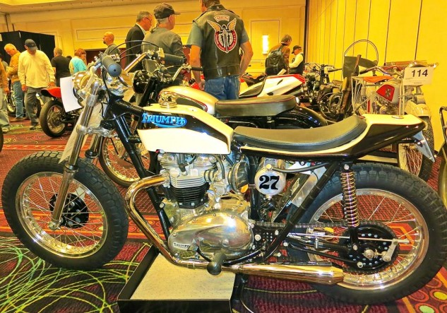 A tidy Triumph 750 street tracker went for $24,450.