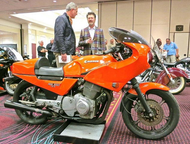 Not all the Italian exotics on offer at the Bonhams auction were prohibitively expensive. This 1974 Laverda Jota sold for $6,325.