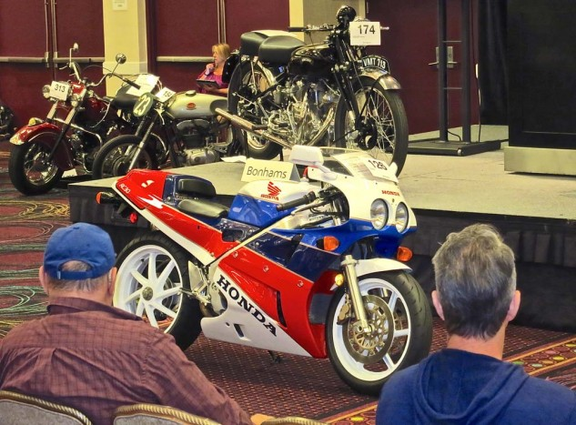 Three Honda RC30s were on offer between the two auctions. This low-mile 1990 model brought a phone bidding war between buyers in the UK and Australia. The Brit prevailed, setting a new world record for the model at $52,900.