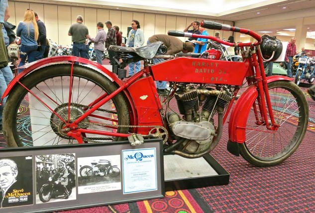 The supply of ex-Steve McQueen motorcycles has yet to be exhausted. This 1912 Harley-Davidson X8E Big Twin went to a new home for $117,300. Built to challenge the recent Isle of Man-winning Indians, the 8-horsepower 989cc Twin featured a clutch, ball bearing crankshaft and roller bearings carrying the rods. The high-performance era had begun.