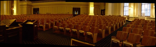 The biggest committee hearing room I had ever seen, the house chambers in Concord, New Hampshire, with standing room only.  Photo by Marc Nozell.