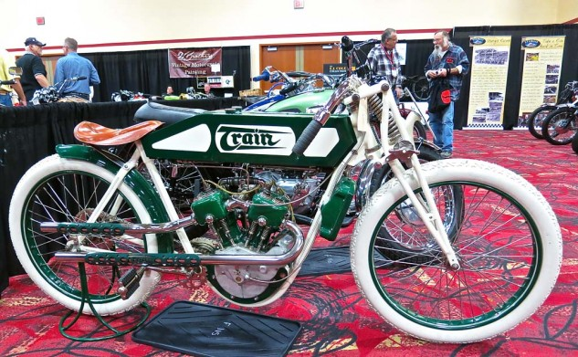 Yet another obscure European racer was the 1913 Train V-Twin set up in board-track trim. The stylish machine went for $28,000.