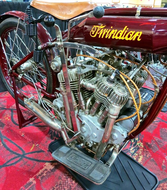 """The Indian V-Four """"Twindian,"""" ostensibly built for Cannonball Baker, was no sale at $95,000."""