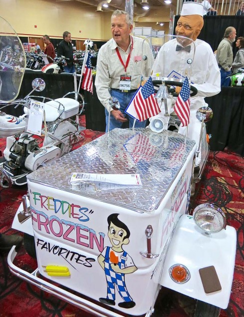 The cute 1951 Cushman trike ice cream wagon brought $10,000.