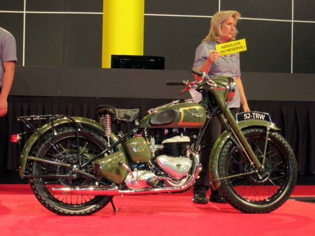 Two 1952 Triumph TRW military models were on the block. This one sold for $4,750.