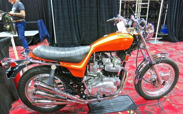 The 1973 Triumph X-75 Hurricane, styled by Craig Vetter. One of 1100 made. No sale at $28,000.