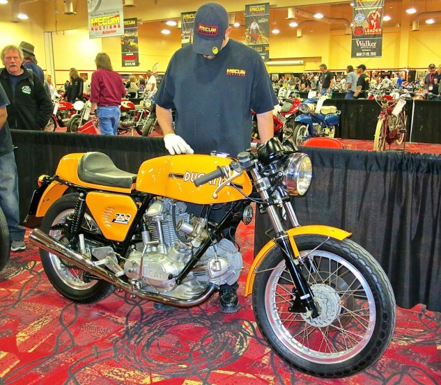 This was listed as a 1974 Ducati 750 Sport, but according to several veteran Ducatisti on hand, it was a 750 GT with a mixture of Sport and aftermarket pieces. The owner nonetheless insisted on its authenticity and declined an offer of $27,000. As one wag noted, even if Guido himself was at the end of the assembly line that day in Bologna, the bike wouldn't have left the factory as a Sport.