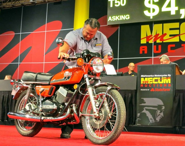 The affordability scale, and range of machines, is considerably more broad at the Mecum show. This 1975 Yamaha RD350, with a claimed 3,000 miles, was bid to $5,000. But the owner passed.