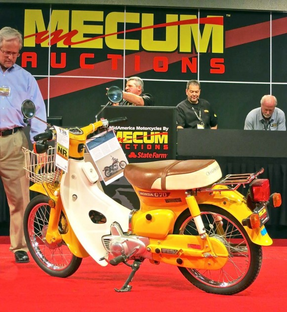 What appeared to be a nicely restored 1980 Honda C70 sold for $1,100. A key buy.