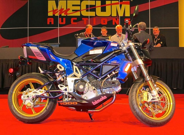Several of the various Italian machines created quite a twinkle in the eye of your roving correspondent. He even considered, briefly, hitting the craps table to try his luck. Listed as a Bimota Db5R, it was actually a Db6 Delirio Azzurro, and sold for $15,000.