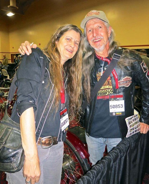Cristine Sommer Simmons, author of The American Motorcycle Girls, 1900 to 1950, and husband Pat of the Doobie band of brothers, flew in from Hawaii for the event.