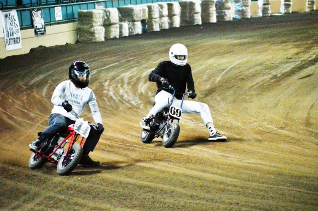 The action was pretty heated in the Pull Start Mini class, as grown men were coaxing the most out of tiny motorcycles.