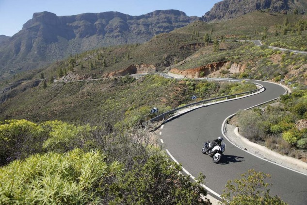 KTM chose Gran Canaria Island and its abundance of flowing corners and tight switchbacks, that ceaselessly undulate with elevation gains and losses, to showcase the company's new flagship motorcycle. The Super Adventure equaled in performance what the island offered in challenging, beautiful roadways.