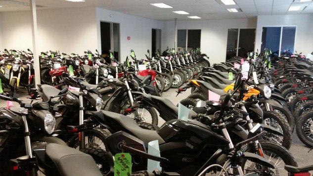 Unlike other electric motorcycle companies, Zero is pumping out motorcycles. This is just one room of many. In the adjacent room are 2015 models, in crates, ready to be shipped to Indonesia, Israel, Columbia, and numerous other countries all over the globe.