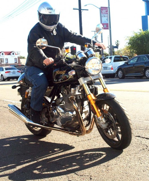 Speaking of Nortons, Daniel Schoenewald, CEO of Advanced Motion Controls, and a major bike fan, has every model of Norton Commando in his collection, and rides every one of them. He recently added the new incarnation, a snortin' 961, here seen taking off for the ride back home to Camarillo, CA.
