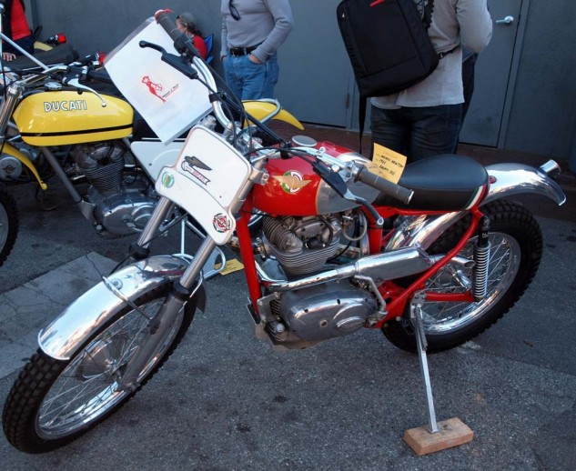 Of all the vintage Ducs that got in a row, this one has some interesting history going for it, if a bit off the beaten Ducati track. Call it a tribute bike, this 1965 350 single was brought by AHRMA racer Wendy Newton. A two-year labor of love, it's an exact Works replica of the bike campaigned by famous trials rider Peter Gaunt in the '60-'70s. Wendy's bike was refabbed by B&J Racing in 1993-94 with a '65 Ducati Sebring Motor, Rickman wheels, Sammy Miller muffler, NJB shocks.