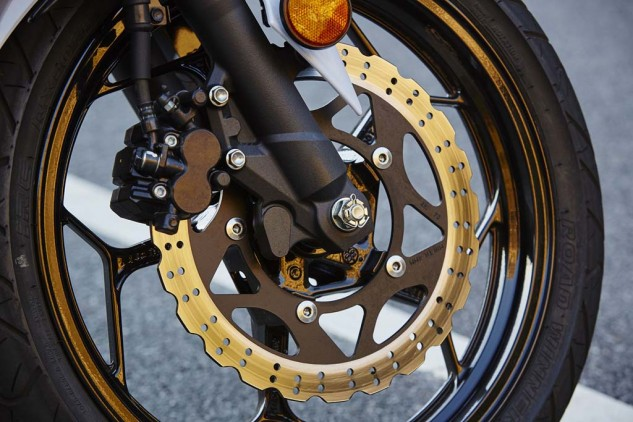 When the going gets tough, the two-piston cheapie brake calipers on the Ninja and the Honda get spongy.
