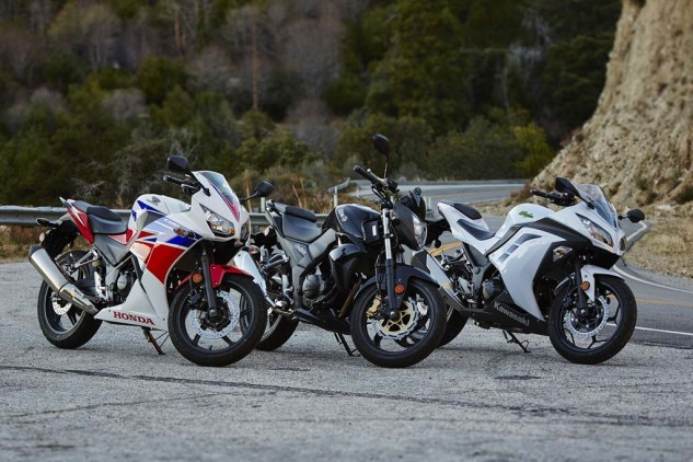 The SYM (middle) is really a naked bike while the CBR and Ninja are fully faired, but all three share an excellent, nearly-upright seating position.
