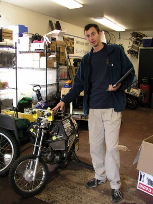 U.C. Berkeley student Levandowsky in 2005 with his creation. Photo: Gabe Ets-Hokin