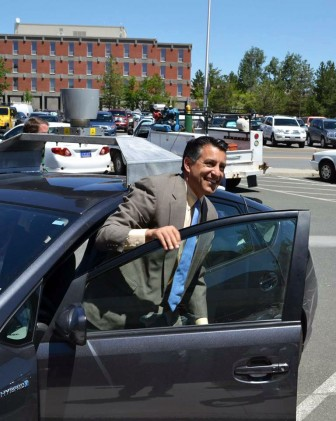 Nevada Governor Brian Sandoval after a trip in a self-driving car in 2012. Nevada was the first state to license self-driving cars, on the provision that the car buys $15 worth of keno tickets. Photo: Tom Jacobs