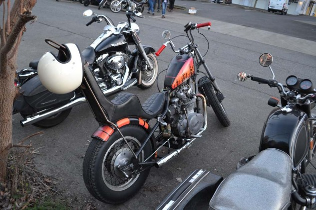 Bikes outside the show.