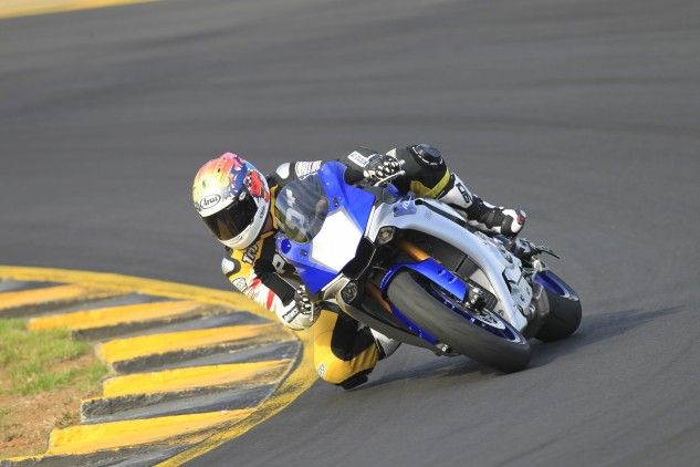 Our first three sessions were spent aboard the standard R1. Immediately noticeable was just how easy it is to ride quickly.