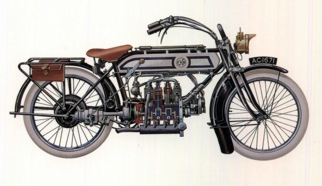 Pre-1923 FN still retains shaft drive and shows use of natural white rubber tires. Various tank designs appeared during production. Although technically advanced in many ways, the FN still relied on acetylene for its lighting.