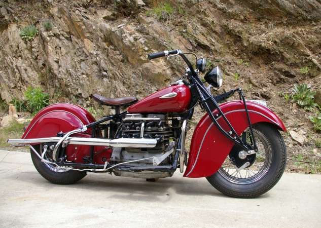 By 1940 all Indians were dressed in the iconic fully valanced fenders, as grace this 1941 Four found at the Wheels Through Time Museum. While the model retains the leaf spring front suspension with trailing front wheel axle, it now benefits from a plunger-type rear. Riders could take the Four to 95 mph.