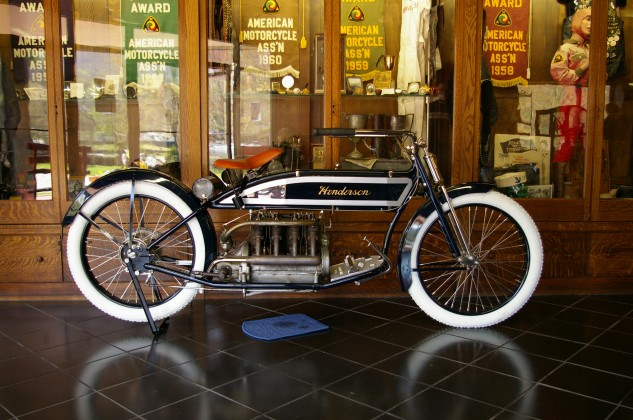 1913-14 Henderson Four (Wheels Through Time Museum) – Earlier cylindrical shape tank was replaced in 1913 with this streamlined shape. It was said to have a top speed of 55 mph.