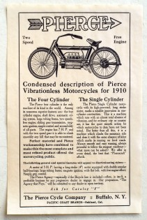 A 1910 ad for both Pierce single- and four-cylinder machines.